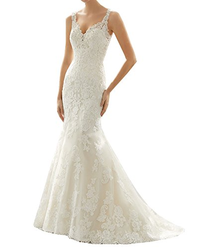 Lava-ring Women's Spaghetti Straps Lace Hollow Mermaid Long Beach Wedding Dress 4192ZO3XroL home Home 4192ZO3XroL