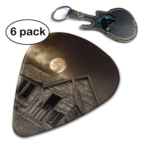 (Leopoldson Night Moon Sky Wolf Cabin Mysterious Guitar Picks Guitar Accessories (6pc) Celluloid Guitar Picks Plectrums For Musice Gift Music Lover)