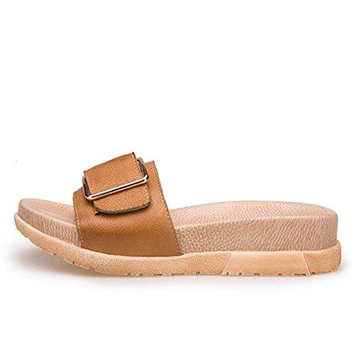 La moda de verano lleva un grueso fondo de la palabra sandalias/Zapatillas de cuero genuino hebilla lateral C
