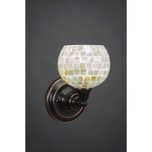 amazon com one light wall sconce with seashell glass in black