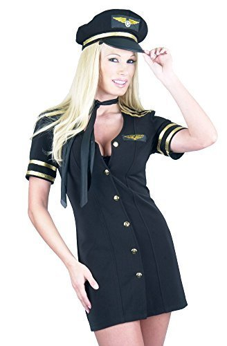 Charades Women's Mile High Captain Costume, Black, (Creative Halloween Costumes For Women 2017)