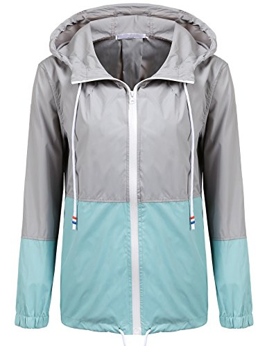 SoTeer Women's Waterproof Raincoat Outdoor Hooded Rain Jacket Windbreaker (Lake Blue XL)