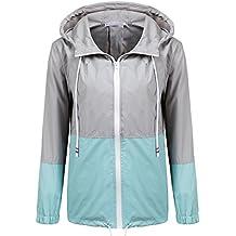 Soteer Women's Waterproof Raincoat Outdoor Hooded Rain Jacket Windbreaker (14 Colors S-XXL)