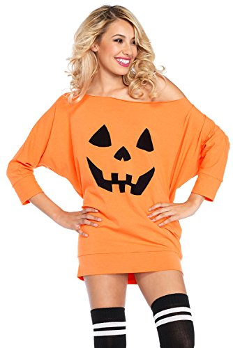 Women Halloween Costume Pumpkin Long Sleeves Off Shoulder Mini Jersey Dress Costume Adult Party Fancy Tunic (Couples Fancy Dress)