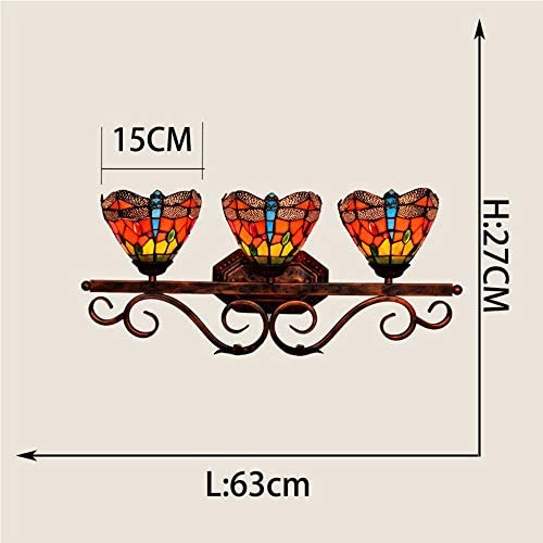 3 Head Wall Lights, Tiffany Style Stained Glass Lampshade, European Retro Red Dragonfly Bedside Wall Lamp Bathroom Mirror Headlights,E27/E26,110-240V