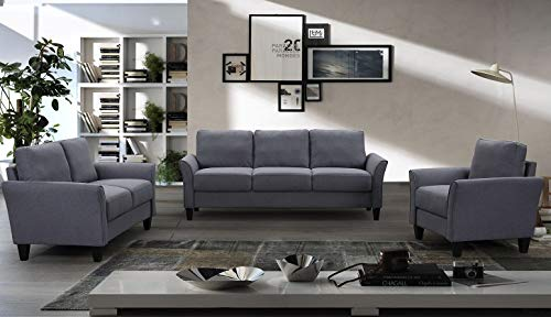- Merax Living Room Sofa Set, Furniture for Living Room Couch Set of 3, Fabric, Grey