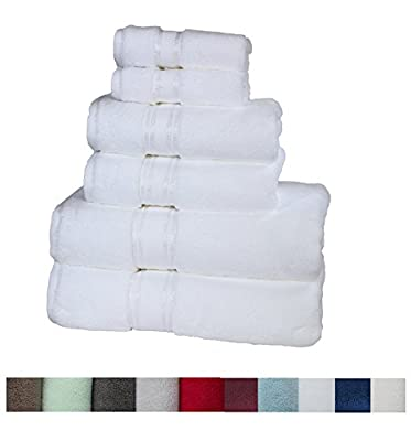 "Casa Lino Quick Dry Super Zero Twist 6 Piece Bath Towel Set 7 Star Hotel Luxury Collection, 2 Bath Towel 28x54"", 2 Hand Towel- 16x28"", Face Towel- 13x13"""