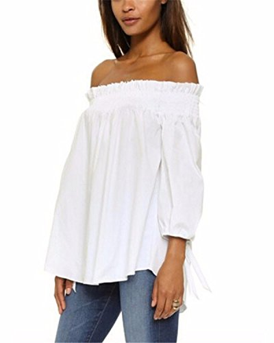 Off The Shoulder Peasant Top - ZANZEA Women's Plus Size Off shoulder 3/4 Sleeve Loose Long Tops Blouse Shirt White US 20/ASIAN 3XL