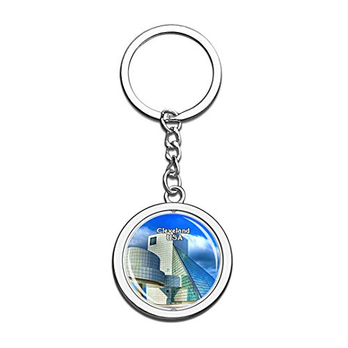 USA United States Keychain Rock & Roll Hall of Fame Cleveland Key Chain 3D Crystal Spinning Round Stainless Steel Keychains Travel City Souvenirs Key Chain Ring -