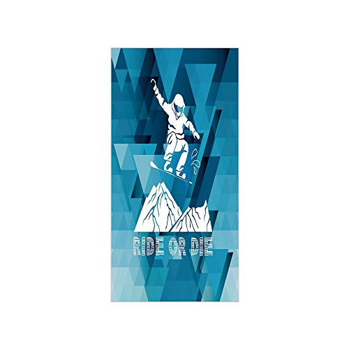 3D Decorative Film Privacy Window Film No Glue,Adventure,Ride Or Die Sketch Letters Abstract Fractal Backdrop with Snowboarding Man Decorative,Purple Blue White,for Home&Office