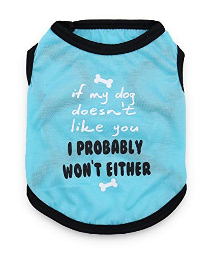 DroolingDog Pet Puppy Shirts Funny Dog Clothes T Shirt for Small Dogs, Large, Blue