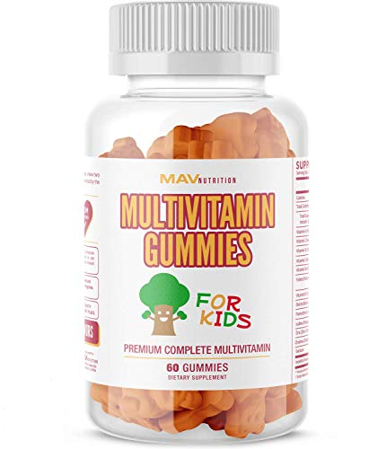 Multivitamins for Kids Gummies - Vitamin A, C, D, E, B-6 and B-12 with Calcium and Zinc - Gluten Free, Non-GMO, Natural Flavoring & Super Tasty; 60 Chewables