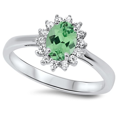 925 Sterling Silver Faceted Natural Genuine Green Emerald Oval Flower Halo Ring Size 8 ()