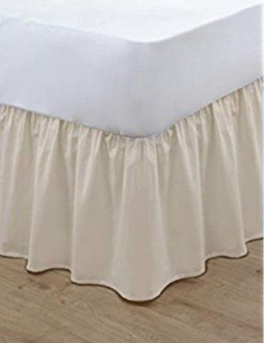 EGYPTO Base Valance Sheet Frilled, 100% Polycotton - Long Staple Fibre - Available in 20 Colours - FIT OVER BASE. OEKO-TEX Standard 100% Certified Product. (Double, Black)
