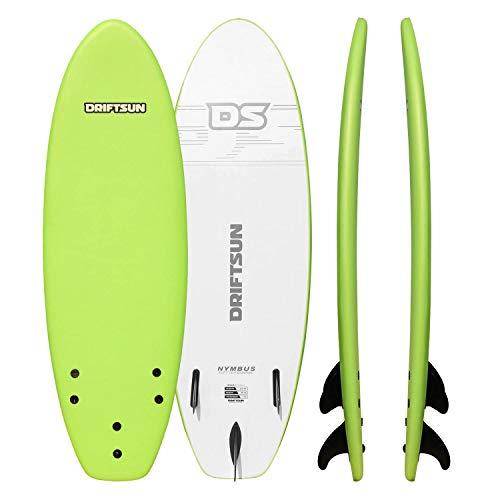 "Driftsun Nymbus 66"" x 20"" Green Foam Surfboard, with EPS Foam Core, Includes 3 Removable Fins"