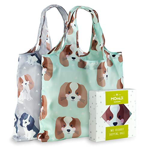 - Momiji Premium Reusable Grocery Shopping Bags, Unique European Artists, Certified Recycled Polyester, Set of 2 Bags, Foldable, Eco-Friendly, Machine Washable, Lightweight (Cute Cavalier Dog)