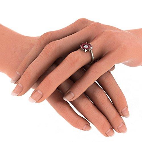 14K Or blanc, 0.06carat Diamant Taille ronde (IJ | SI) Rubis et diamant Bague