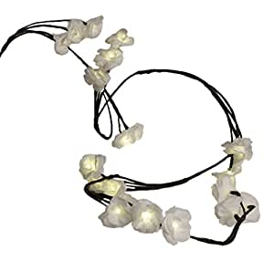 Lighted String of White Roses, with 24 Warm White LEDs, Battery Operated
