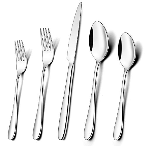 Umite Chef 60-Piece Silverware Flatware Cutlery Set, Durable Mirror Polished Stainless Steel Tableware Service for 12…