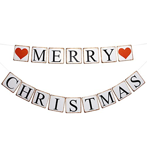Merry Christmas Banner Sign Garland Party Props Retro Bunting Home Holiday Decor Decorations (Christmas Photo Banner Merry)