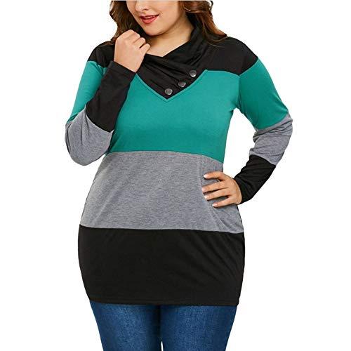 CUCUHAM Women Big Size Autumn Winter Long Sleeve Button Irregular High Collar Blouse(Green,US:6/CN:M) for $<!--$12.14-->