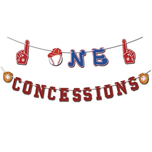 Mity rain Baseball Theme Concessions Banners/1st Birthday Baby Shower Garland/Sport Winner Banner for Kids Player Party Decorations -