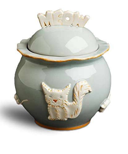 Carmel Ceramica PCJF3006Cat Treat Jar, French Grey