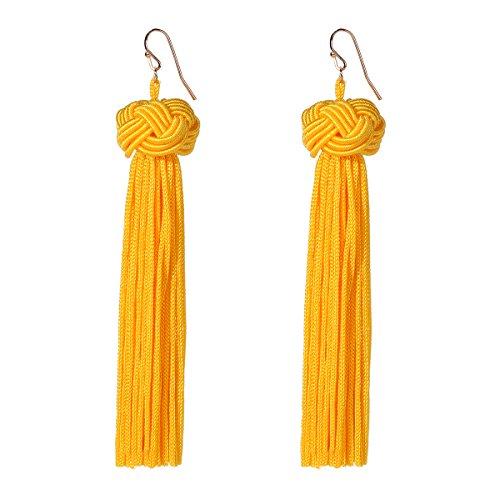 YUXI Yellow Long tassel Earrings Dangle Ball Fringe Tassel Hook Earring Beaded Eardrop for Wedding,Party