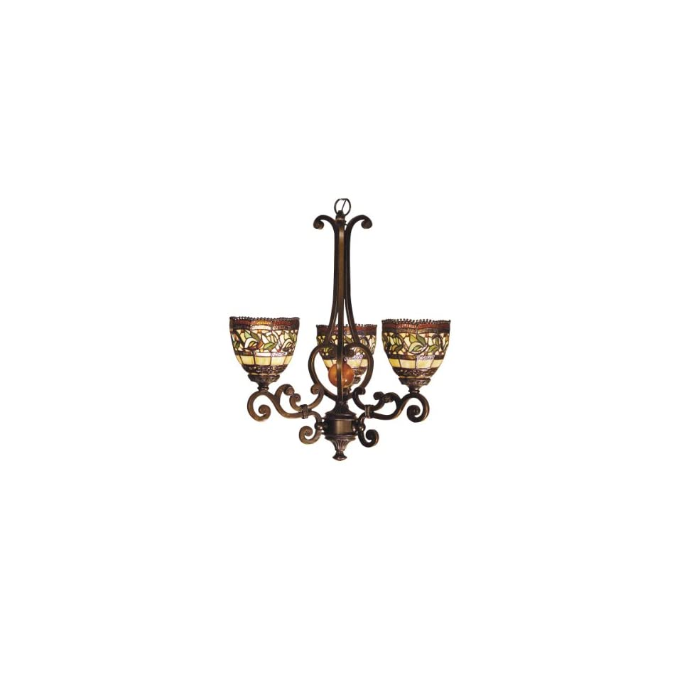 Dale Tiffany TH101035 Aldridge 3 Light Chandelier, Antique Golden Sand and Art Glass Shade