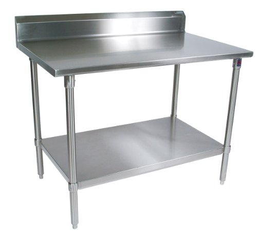 John Boos ST6R5-3060SSK Stainless Steel Stallion Work Table with Lower Shelf, Adjustable Legs, 5'' Riser Top, 60'' Length x 30'' Width by John Boos