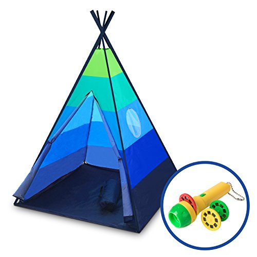 """Kid Play Tent Adventure (USA Toyz Kids Teepee Tent - """"Happy Hut"""" Indoor Outdoor Teepee Tent for Kids w/ Safari Projector Light + EZ Pack Play Tent Tote for Kids Tent Travel (Blue))"""