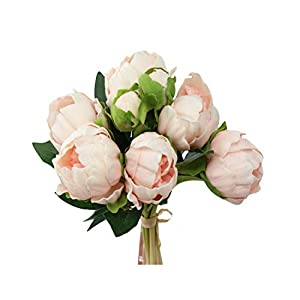 Real Touch Peony Bouquet-6blooms 2buds Perfect for Home Decor Wedding, DIY Bouquet Corsage Centerpiece PU Realistic Feel (Blush Bellini) 85
