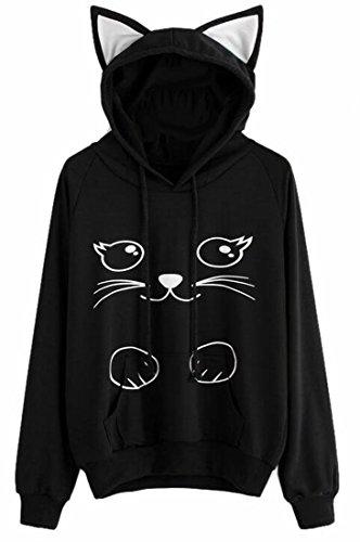 GAGA Women's Cat Face Printed Long Sleeve Sweatshirt Hoodie Pullover Black - Cat Gaga Lady