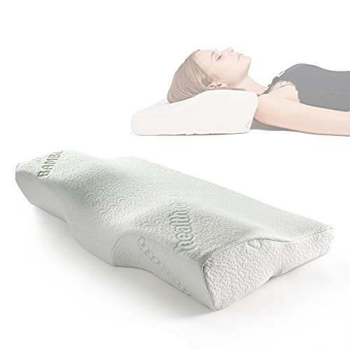 Sleep Memory Foam Contour Pillow-Therapeutic & Ergonomic Design for Neck Pain-Hypoallergenic & Washable Fabric Bamboo Cover-Standard Size Bed Pillow(24.4'×14'×4.3')