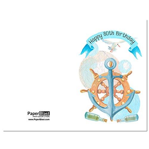 Amazon Nautical Happy 80th Birthday Card With Custom