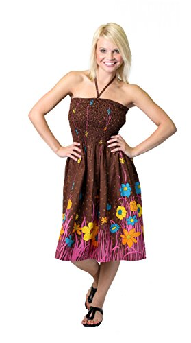 One Garden colors fits size Dress most Brown many Tube Flower Coverup ff6w1qU
