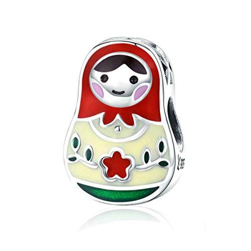 - Matryoshka 925 Sterling Silver Russian Doll Charms Red Enamel Bead Charms Happy Mothers Day Christmas Charms for Pandora Bracelets Gifts for Her Mom Daughter Wife(Russian Doll Charms)