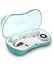 Waterproof Facial Cleansing Spin Brush Set with 3 Exfoliating Brush Heads - Complete Face Spa System by Fancii - Advanced Microdermabrasion for Gentle Exfoliation and Deep Scrubbing (Aqua)
