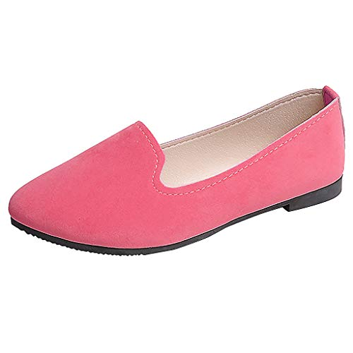 - CCFAMILY Women Girls Solid Big Size Slip On Flat Shallow Comfort Casual Single Shoes Pink