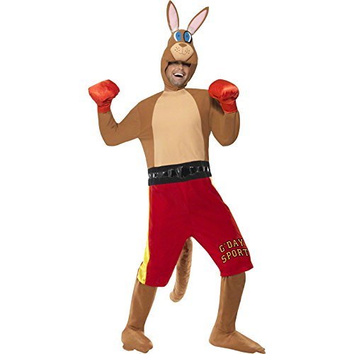 Smiffy's Men's Kangaroo Boxer Costume Jumpsuit with Shorts and Tail Gloves and Headpiece, Multi, Medium