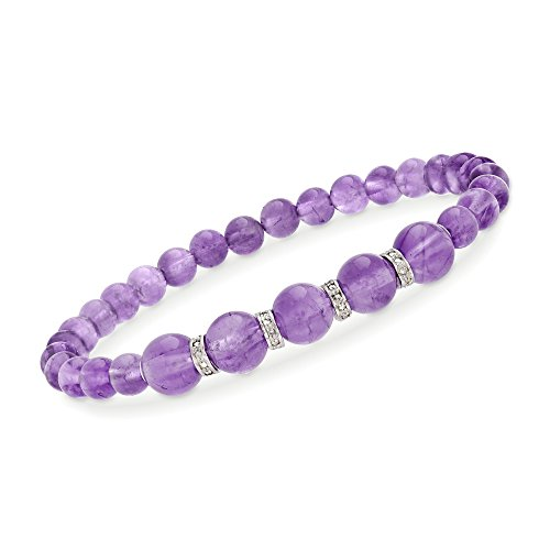 Ross-Simons 6-8mm Graduated Amethyst Bead and .24 ct. t.w. Diamond Spacer Bracelet in Sterling Silver -