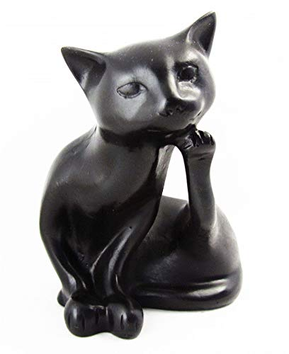 Blue Orchid Black Cat Figurine Collectible Resin Statue