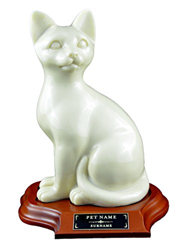 LovedPet Faithful Feline Pet Cremation Urn with Wood Base and Custom Engraved Name Plaque for Cats (Creme, Sitting with Base)