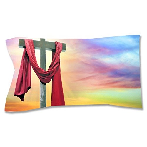 Cross Sunset Pillow Sham, King by Pixsona