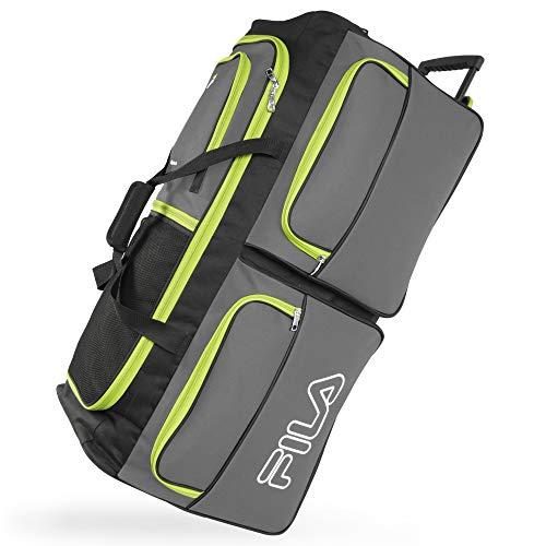 Fila 7-Pocket Large Rolling Duffel Bag, Grey/Neon Lime One Size