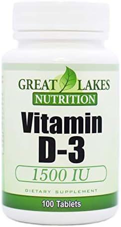Great Lakes Nutrition Vitamin D3, Vegan Vitamin D Supplement for Men & Women, 1500IU, 100 Easy Swallow Pills (2 Pack)