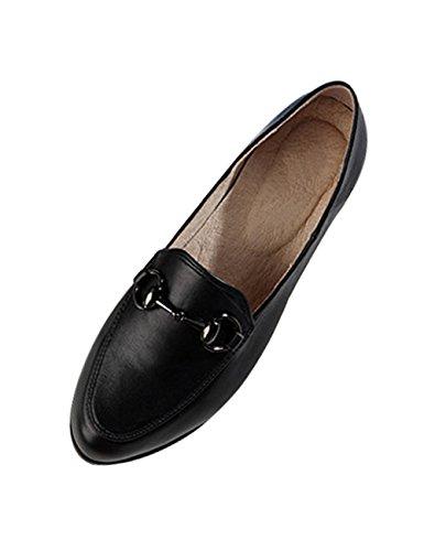 Zoulee Femme Boutons Métalliques Cuir Chaussures Chaussures Noir