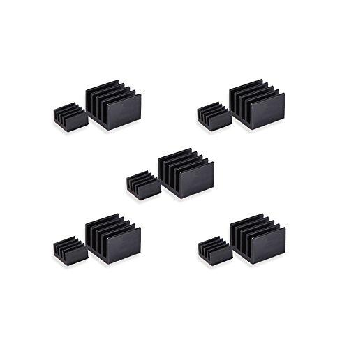 LoveRPi 5-Pack Black Performance Heatsink Set for Raspberry Pi 3 Model B+ (10 Heatsinks)