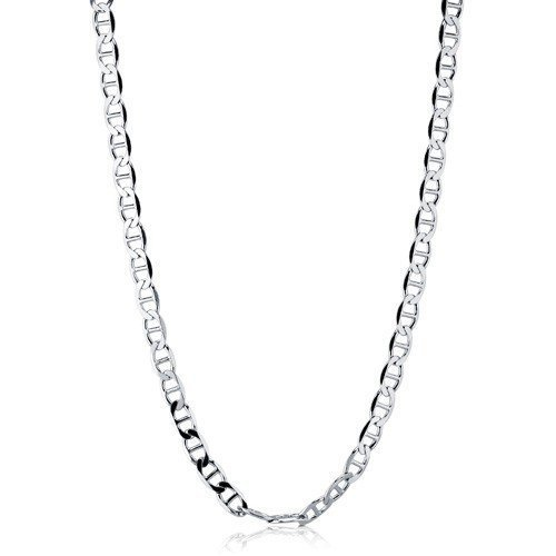 THE ICE EMPIRE JEWELRY, LLC .925 Italian Sterling Silver Flat Round Marina Links Chain Necklaces or Bracelets Flat Edges Nickel Free 7-36 inches (10 Inches)