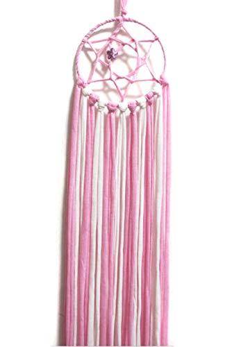 24''Dreamcatcher Organizer Storage Hair Bow Holder Hair Clips Hanger Alligator Clips Headband Hanger Hair Accessories for Room (Pink)